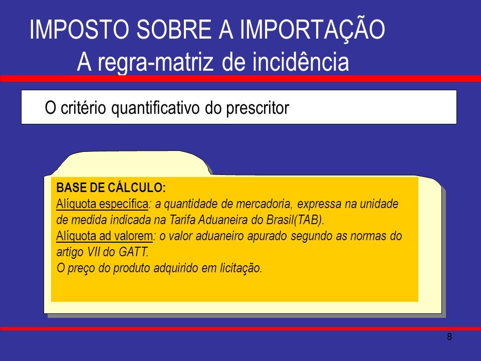 8 IMPOSTO SOBRE A IMPORTAÇÃO A regra-matriz de incidência O critério quantificativo do prescritor BASE DE CÁLCULO: Alíquota específica : a quantidade