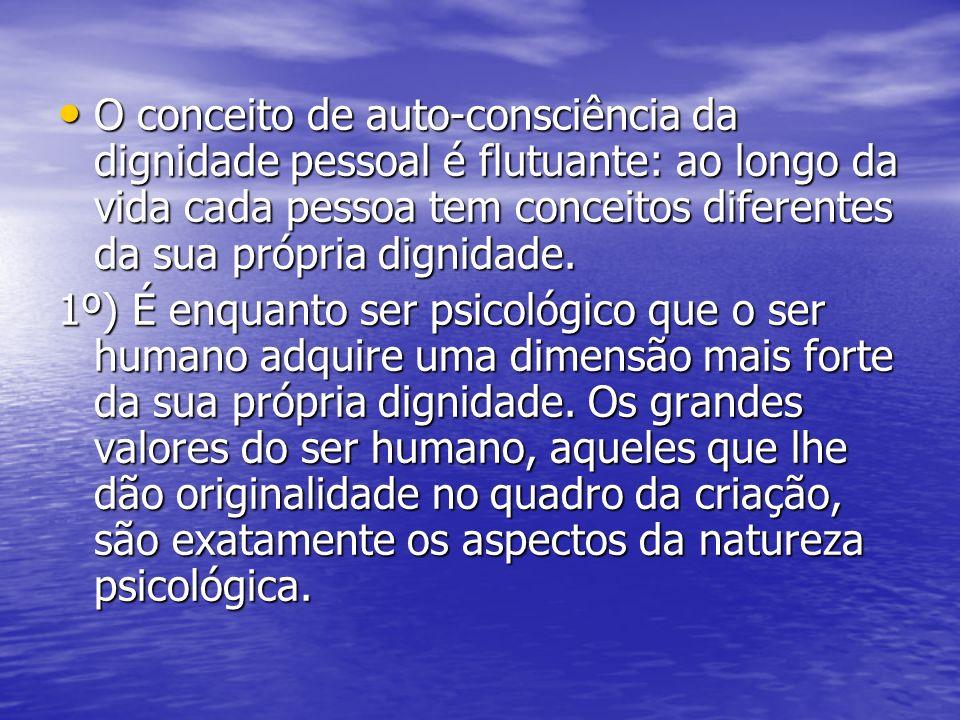 O conceito de auto-consciência da dignidade pessoal é flutuante: ao longo da vida cada pessoa tem conceitos diferentes da sua própria dignidade. O con
