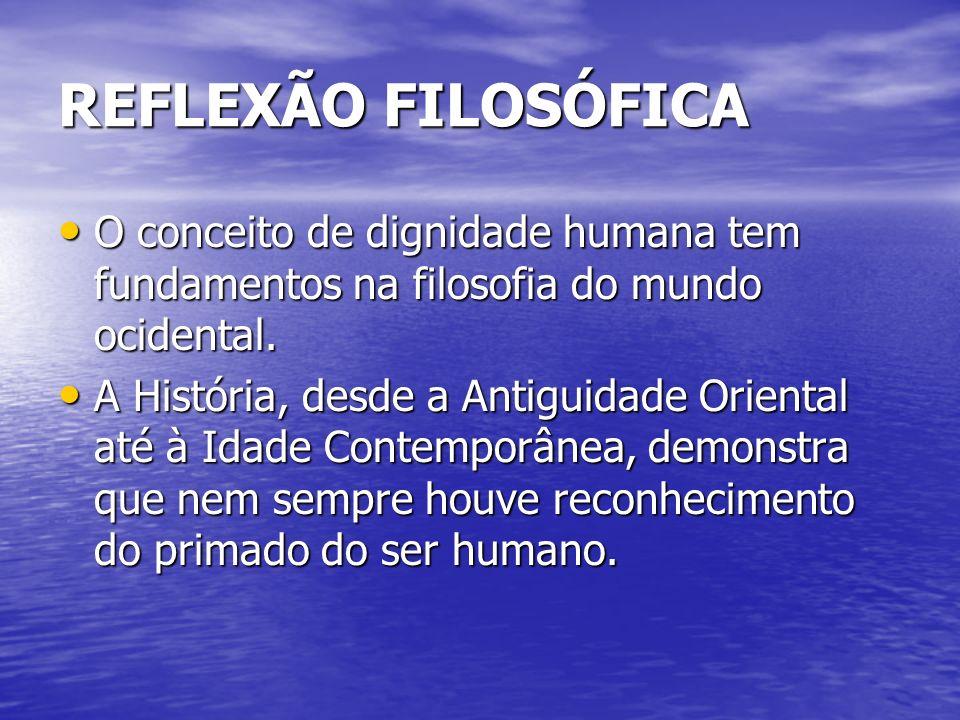 REFLEXÃO FILOSÓFICA O conceito de dignidade humana tem fundamentos na filosofia do mundo ocidental. O conceito de dignidade humana tem fundamentos na