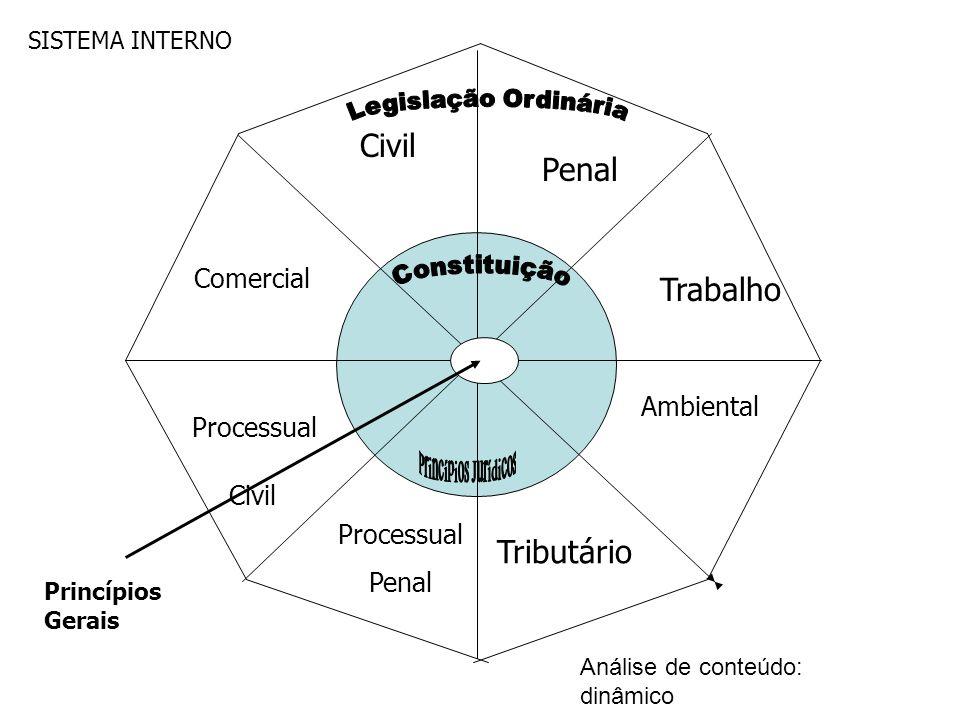 Civil Penal Trabalho Comercial Processual Penal Civil Tributário Ambiental SISTEMA INTERNO Princípios Gerais Análise de conteúdo: dinâmico