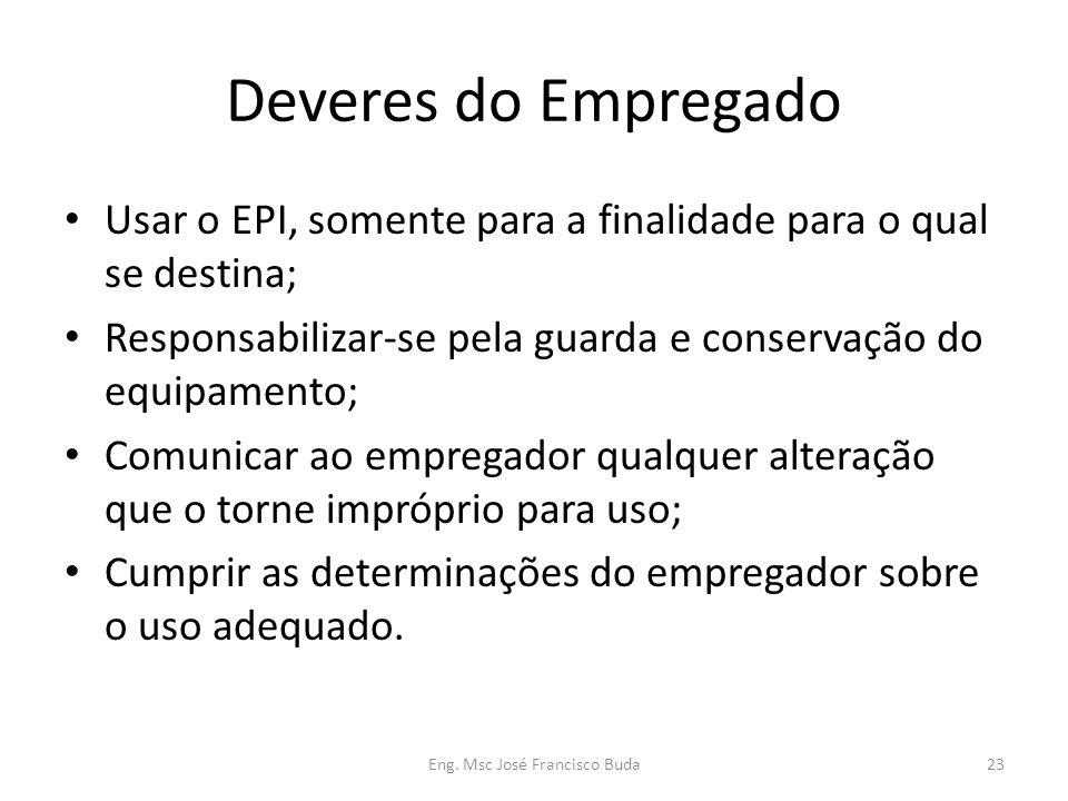 Eng. Msc José Francisco Buda23 Deveres do Empregado Usar o EPI, somente para a finalidade para o qual se destina; Responsabilizar-se pela guarda e con