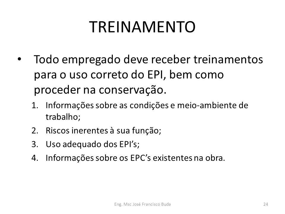 Eng. Msc José Francisco Buda24 TREINAMENTO Todo empregado deve receber treinamentos para o uso correto do EPI, bem como proceder na conservação. 1.Inf