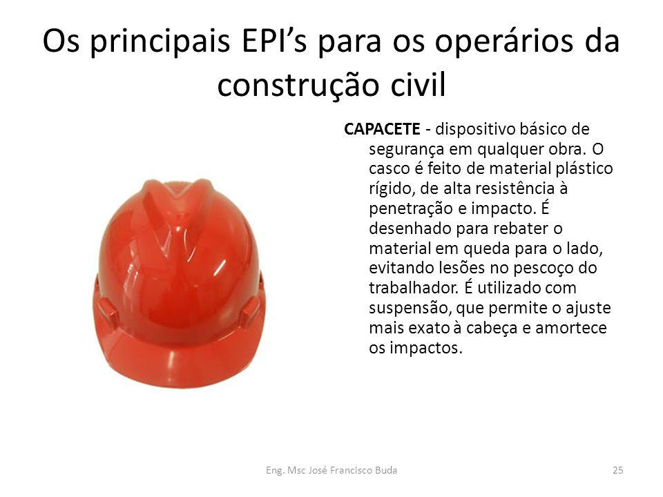 Eng. Msc José Francisco Buda25 Os principais EPIs para os operários da construção civil CAPACETE - dispositivo básico de segurança em qualquer obra. O