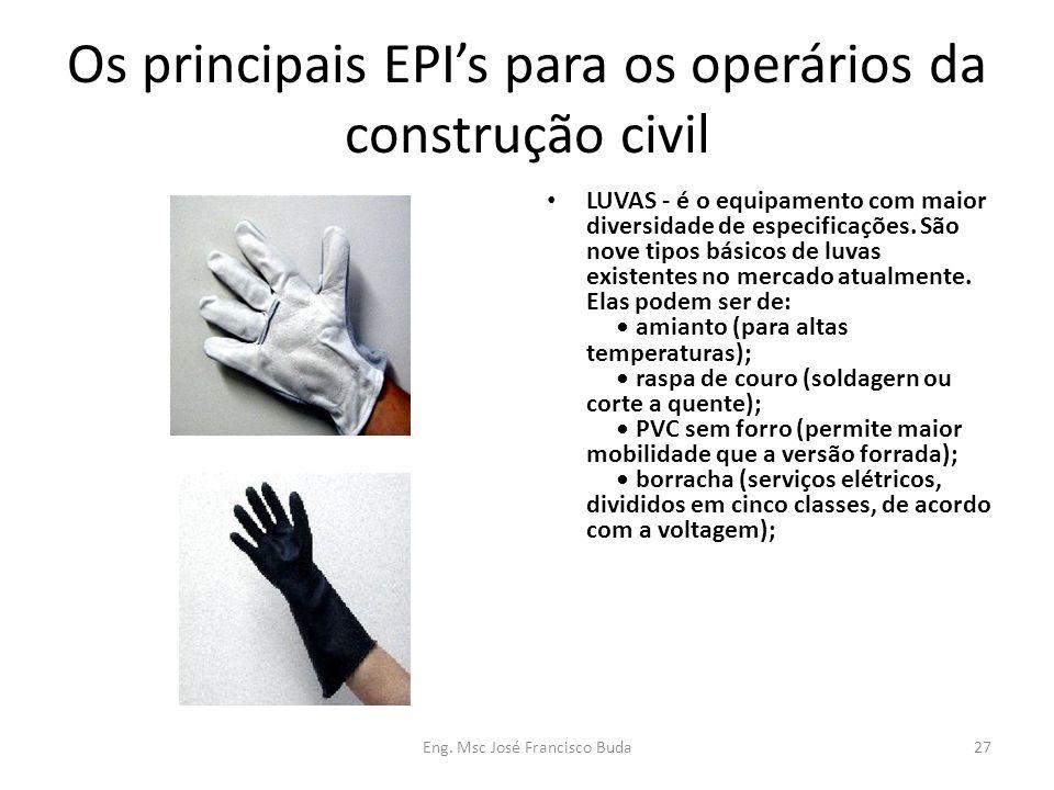 Eng. Msc José Francisco Buda27 Os principais EPIs para os operários da construção civil LUVAS - é o equipamento com maior diversidade de especificaçõe