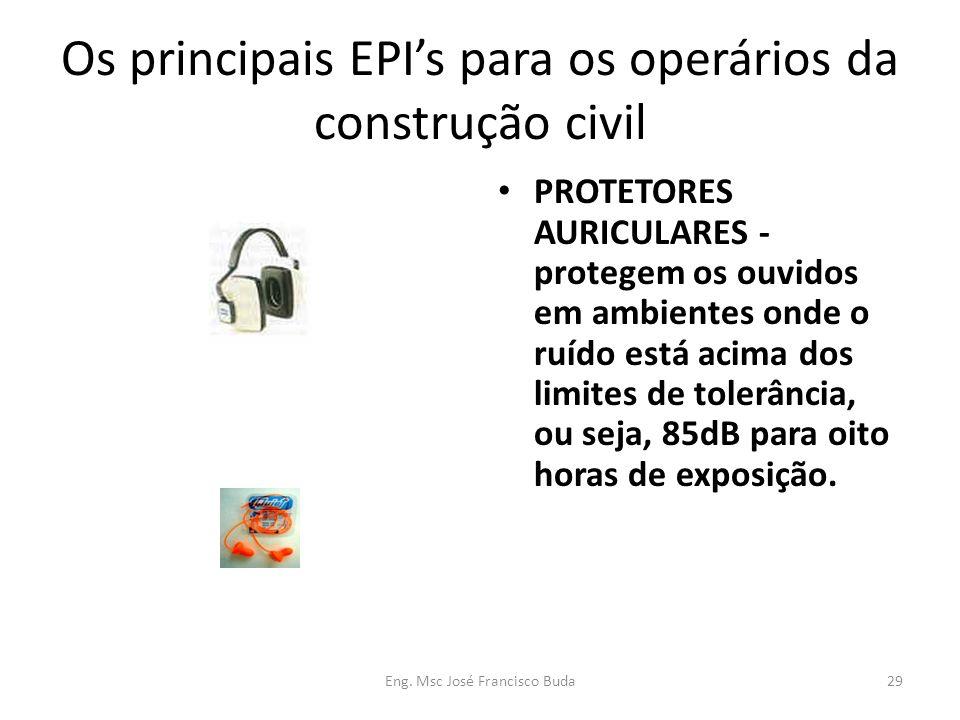 Eng. Msc José Francisco Buda29 Os principais EPIs para os operários da construção civil PROTETORES AURICULARES - protegem os ouvidos em ambientes onde
