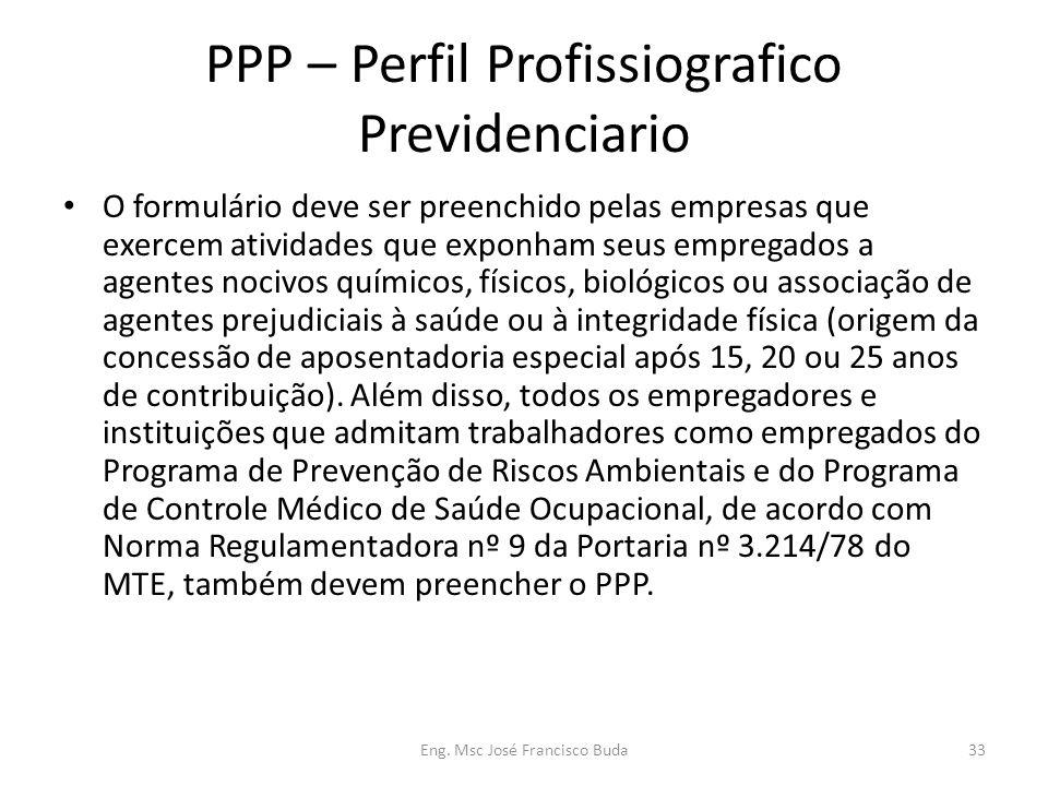 Eng. Msc José Francisco Buda33 PPP – Perfil Profissiografico Previdenciario O formulário deve ser preenchido pelas empresas que exercem atividades que