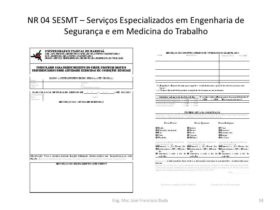 Eng. Msc José Francisco Buda34 NR 04 SESMT – Serviços Especializados em Engenharia de Segurança e em Medicina do Trabalho