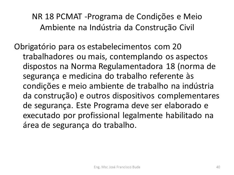 Eng. Msc José Francisco Buda40 NR 18 PCMAT -Programa de Condições e Meio Ambiente na Indústria da Construção Civil Obrigatório para os estabelecimento