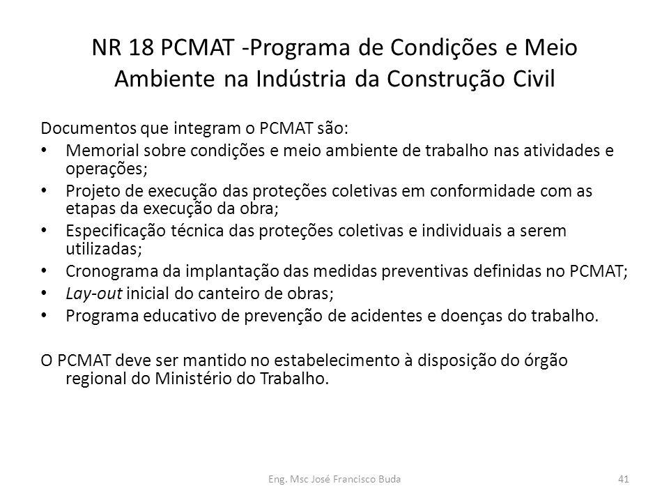 Eng. Msc José Francisco Buda41 NR 18 PCMAT -Programa de Condições e Meio Ambiente na Indústria da Construção Civil Documentos que integram o PCMAT são
