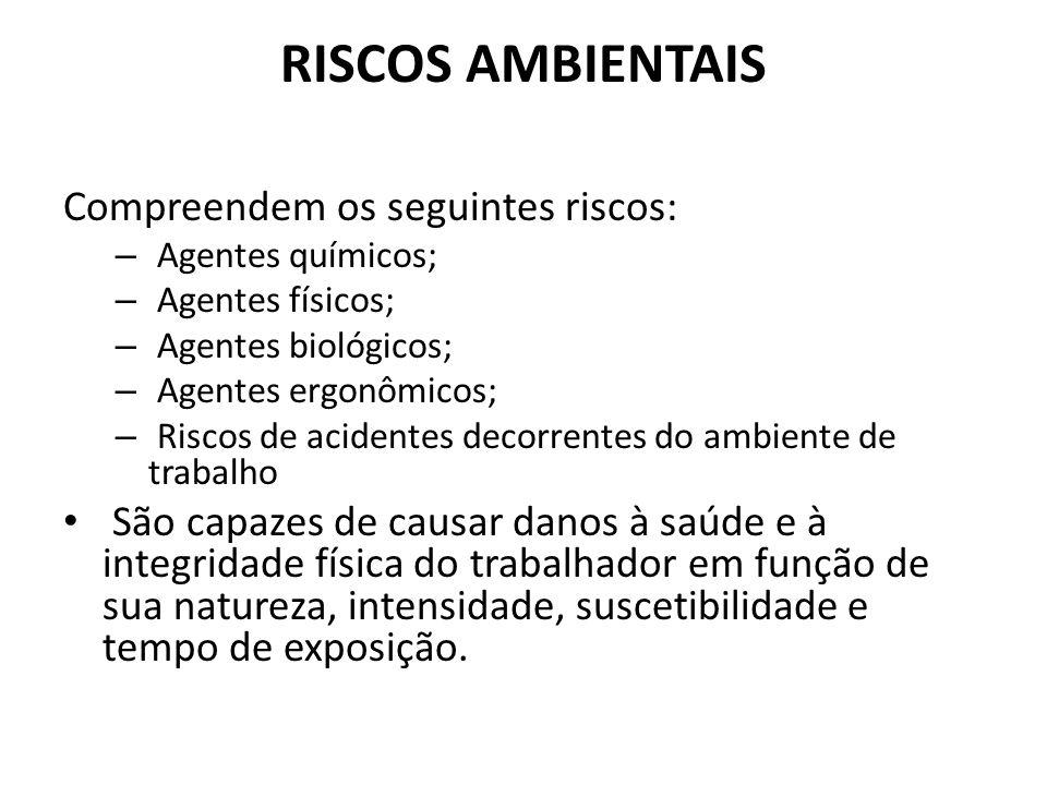 RISCOS AMBIENTAIS Compreendem os seguintes riscos: – Agentes químicos; – Agentes físicos; – Agentes biológicos; – Agentes ergonômicos; – Riscos de aci