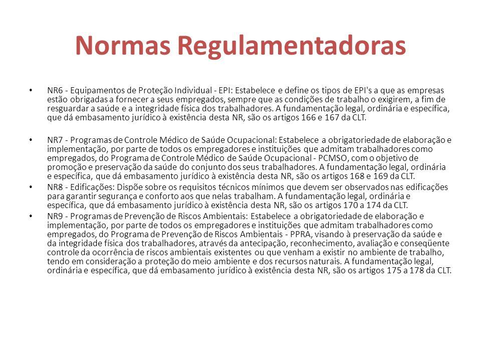Normas Regulamentadoras NR6 - Equipamentos de Proteção Individual - EPI: Estabelece e define os tipos de EPI's a que as empresas estão obrigadas a for
