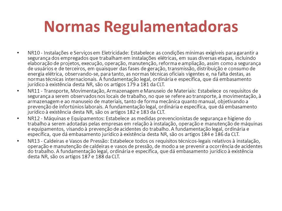 Normas Regulamentadoras NR10 - Instalações e Serviços em Eletricidade: Estabelece as condições mínimas exigíveis para garantir a segurança dos emprega