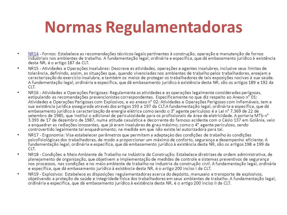 Normas Regulamentadoras NR14 - Fornos: Estabelece as recomendações técnicos-legais pertinentes à construção, operação e manutenção de fornos industria