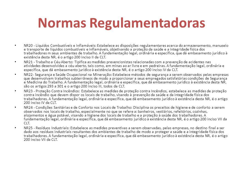 Normas Regulamentadoras NR20 - Líquidos Combustíveis e Inflamáveis: Estabelece as disposições regulamentares acerca do armazenamento, manuseio e trans