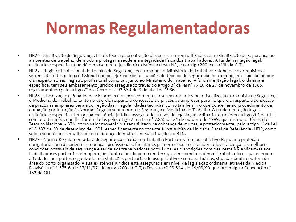 Normas Regulamentadoras NR26 - Sinalização de Segurança: Estabelece a padronização das cores a serem utilizadas como sinalização de segurança nos ambi
