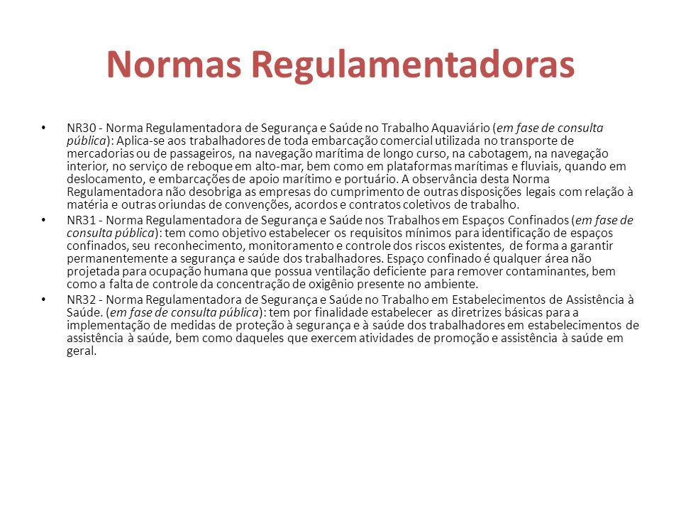 Normas Regulamentadoras NR30 - Norma Regulamentadora de Segurança e Saúde no Trabalho Aquaviário (em fase de consulta pública): Aplica-se aos trabalha