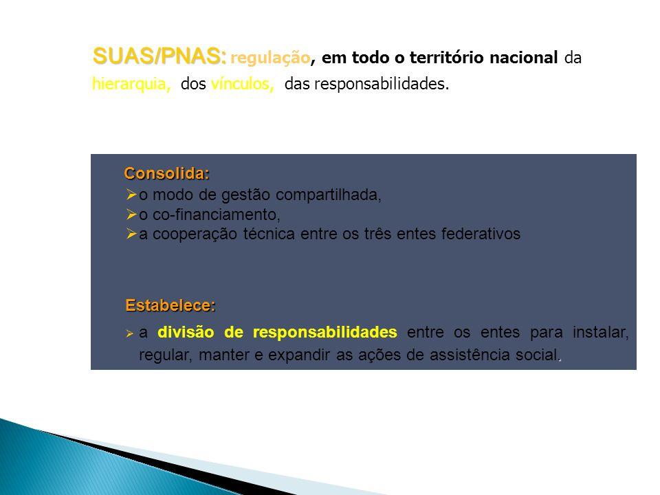 Consolida: Consolida: o modo de gestão compartilhada, o co-financiamento, a cooperação técnica entre os três entes federativosEstabelece:. a divisão d