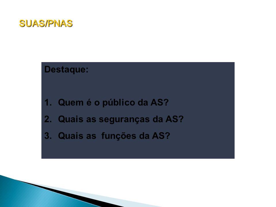 SUAS/PNAS Destaque: 1.Quem é o público da AS? 2.Quais as seguranças da AS? 3.Quais as funções da AS?