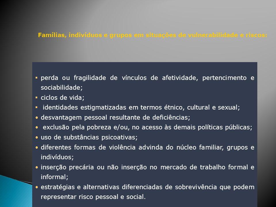 Famílias, indivíduos e grupos em situações de vulnerabilidade e riscos : perda ou fragilidade de vínculos de afetividade, pertencimento e sociabilidad
