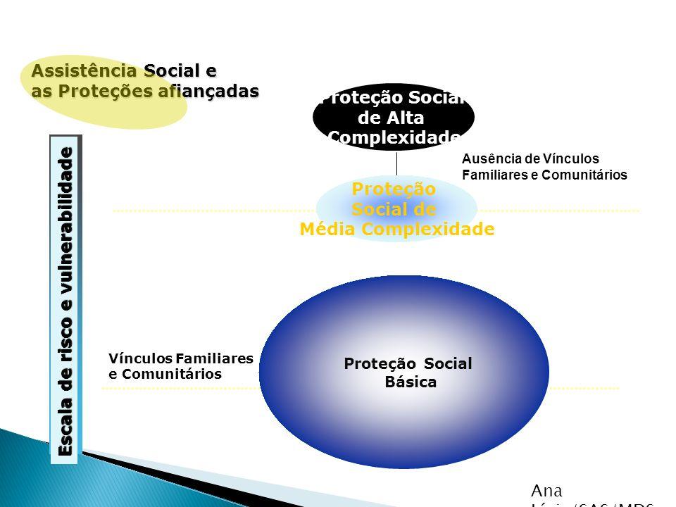 Assistência Social e as Proteções afiançadas Proteção Social Básica Proteção Social de Média Complexidade Proteção Social de Alta Complexidade Ausênci