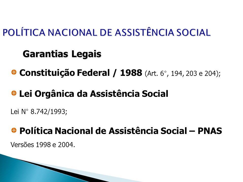 POLÍTICA NACIONAL DE ASSISTÊNCIA SOCIAL Garantias Legais Constituição Federal / 1988 (Art. 6°, 194, 203 e 204); Lei Orgânica da Assistência Social Lei