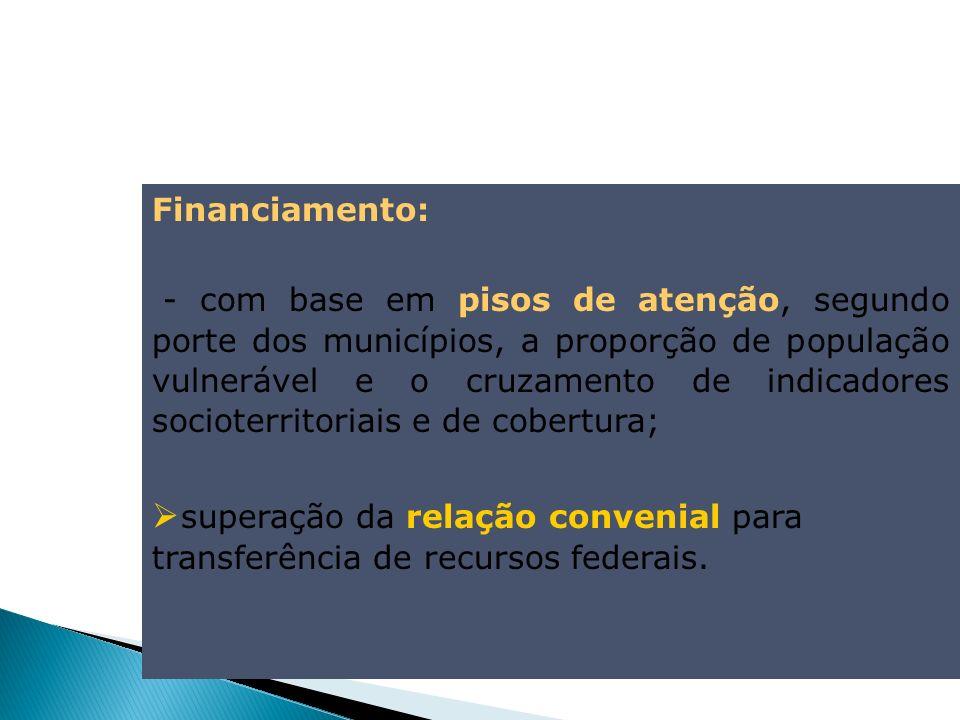 Financiamento: - com base em pisos de atenção, segundo porte dos municípios, a proporção de população vulnerável e o cruzamento de indicadores sociote