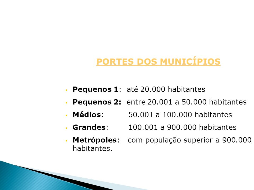 PORTES DOS MUNICÍPIOS Pequenos 1: até 20.000 habitantes Pequenos 2: entre 20.001 a 50.000 habitantes Médios: 50.001 a 100.000 habitantes Grandes: 100.