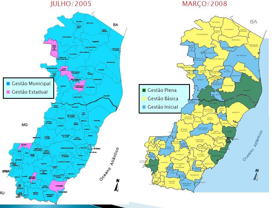 Gestão Municipal Gestão Estadual JULHO/2005MARÇO/2008 Gestão Plena Gestão Básica Gestão Inicial