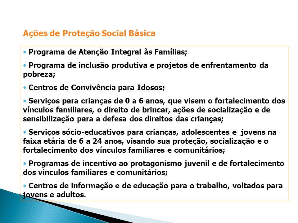 Programa de Atenção Integral às Famílias; Programa de inclusão produtiva e projetos de enfrentamento da pobreza; Centros de Convivência para Idosos; S