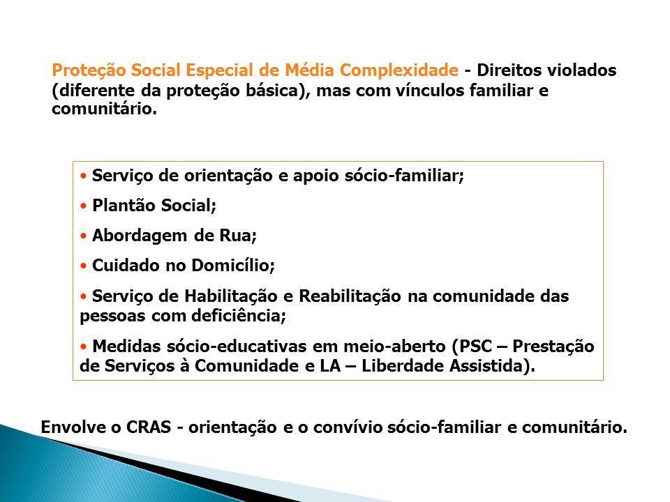 Serviço de orientação e apoio sócio-familiar; Plantão Social; Abordagem de Rua; Cuidado no Domicílio; Serviço de Habilitação e Reabilitação na comunid