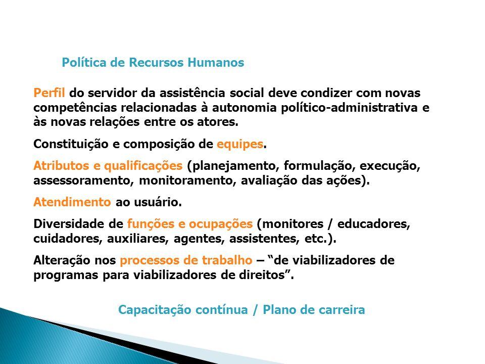 Política de Recursos Humanos Perfil do servidor da assistência social deve condizer com novas competências relacionadas à autonomia político-administr