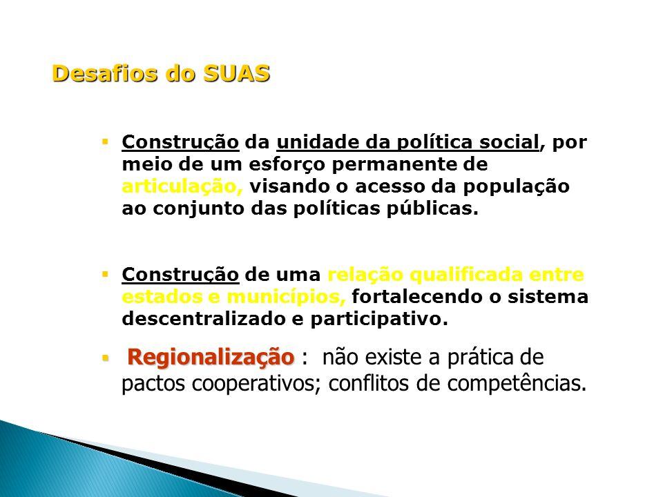 Desafios do SUAS Construção da unidade da política social, por meio de um esforço permanente de articulação, visando o acesso da população ao conjunto