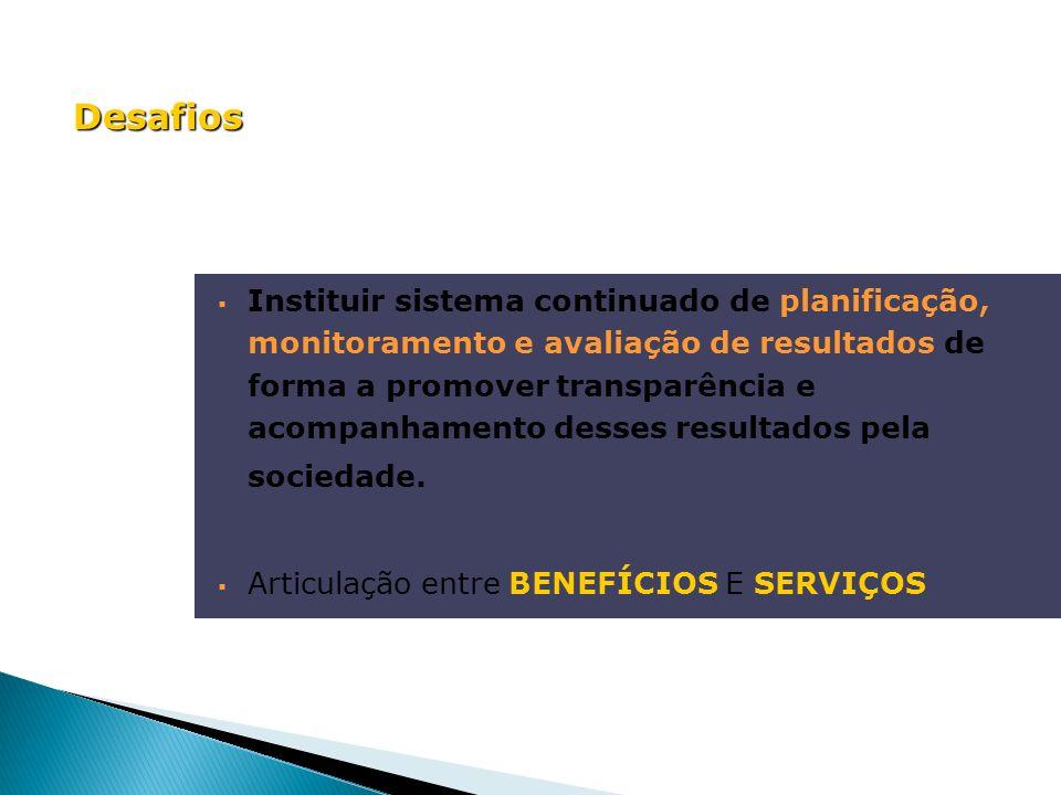 Instituir sistema continuado de planificação, monitoramento e avaliação de resultados de forma a promover transparência e acompanhamento desses result