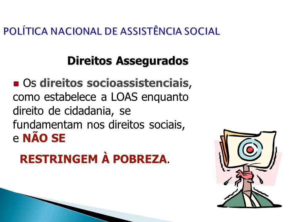 POLÍTICA NACIONAL DE ASSISTÊNCIA SOCIAL Direitos Assegurados Os direitos socioassistenciais, como estabelece a LOAS enquanto direito de cidadania, se