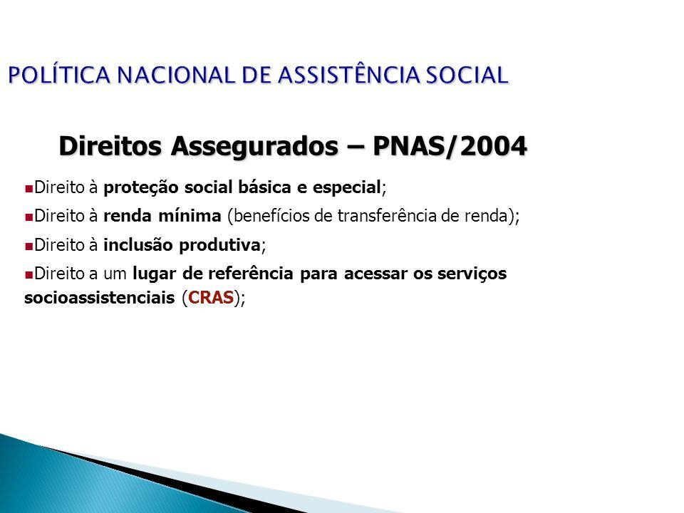 POLÍTICA NACIONAL DE ASSISTÊNCIA SOCIAL Direitos Assegurados – PNAS/2004 Direito à proteção social básica e especial; Direito à renda mínima (benefíci