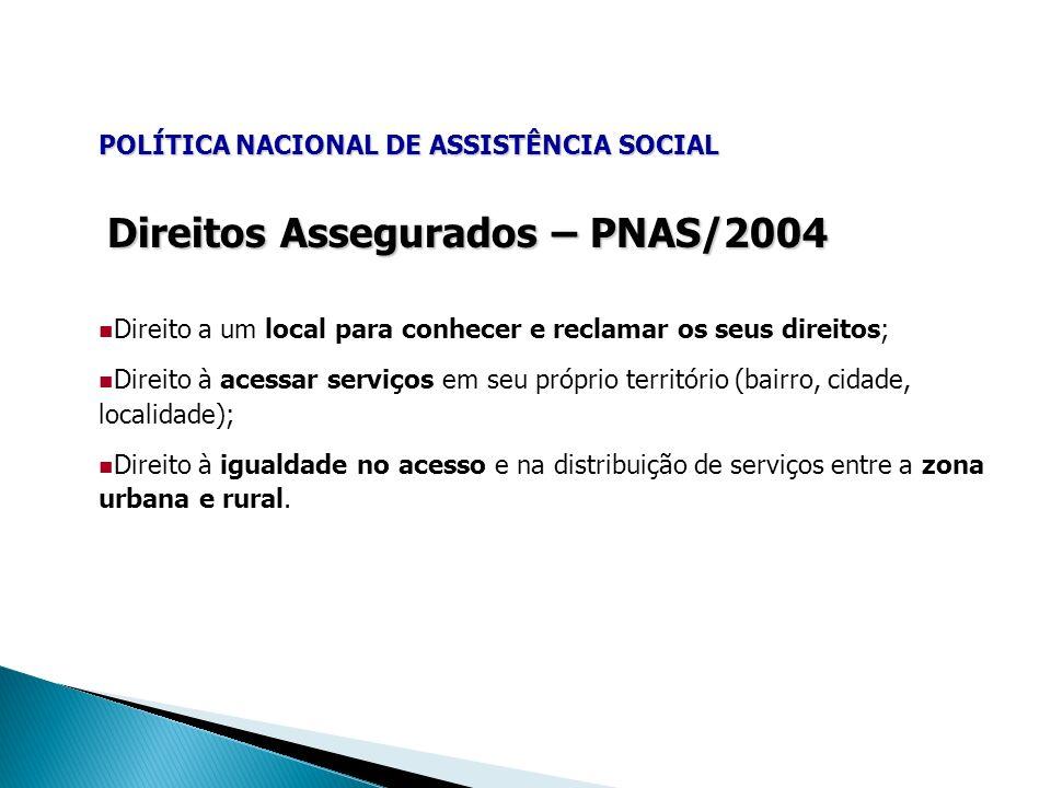 POLÍTICA NACIONAL DE ASSISTÊNCIA SOCIAL Direitos Assegurados – PNAS/2004 Direito a um local para conhecer e reclamar os seus direitos; Direito à acess