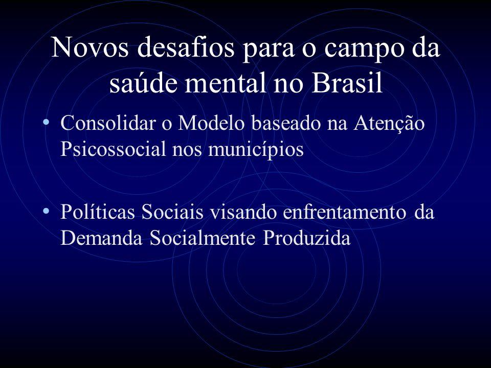 Novos desafios para o campo da saúde mental no Brasil Consolidar o Modelo baseado na Atenção Psicossocial nos municípios Políticas Sociais visando enf