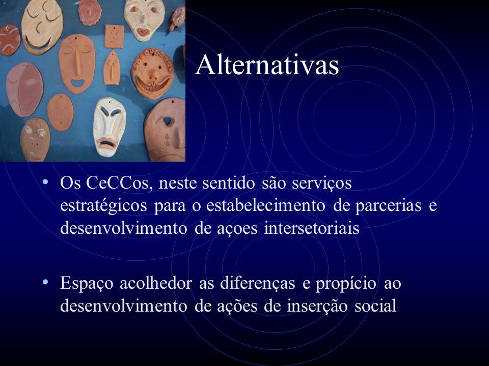 Alternativas Os CeCCos, neste sentido são serviços estratégicos para o estabelecimento de parcerias e desenvolvimento de açoes intersetoriais Espaço a