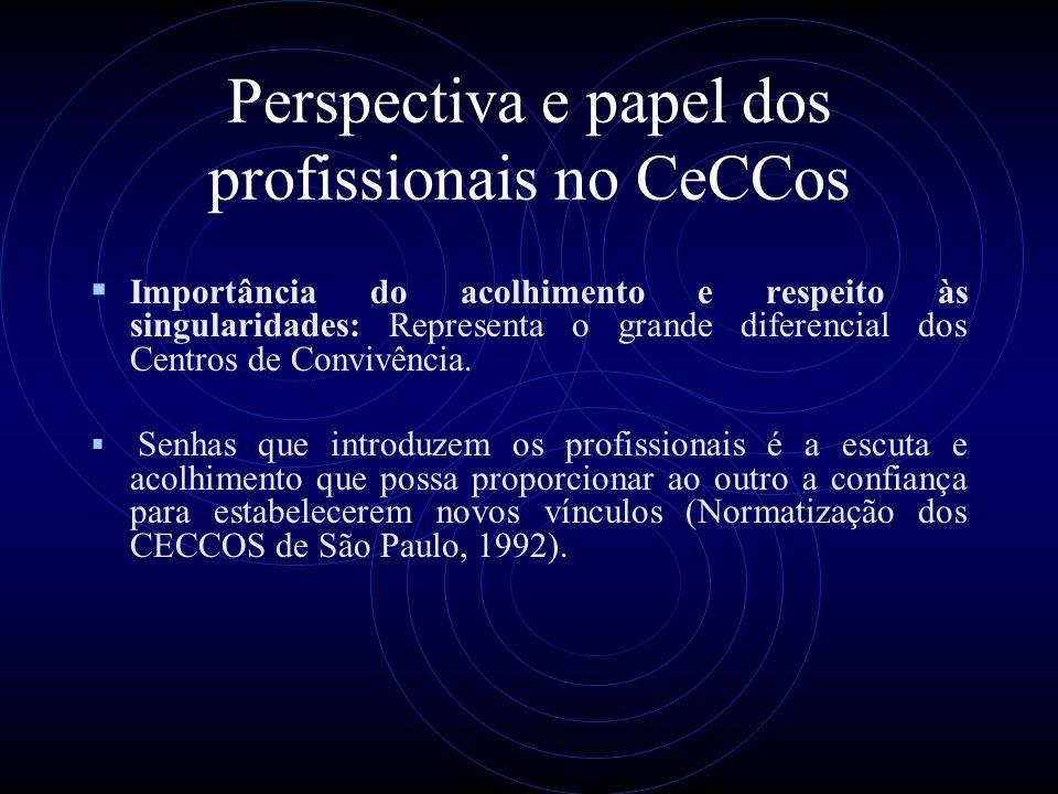 Perspectiva e papel dos profissionais no CeCCos Importância do acolhimento e respeito às singularidades: Representa o grande diferencial dos Centros d