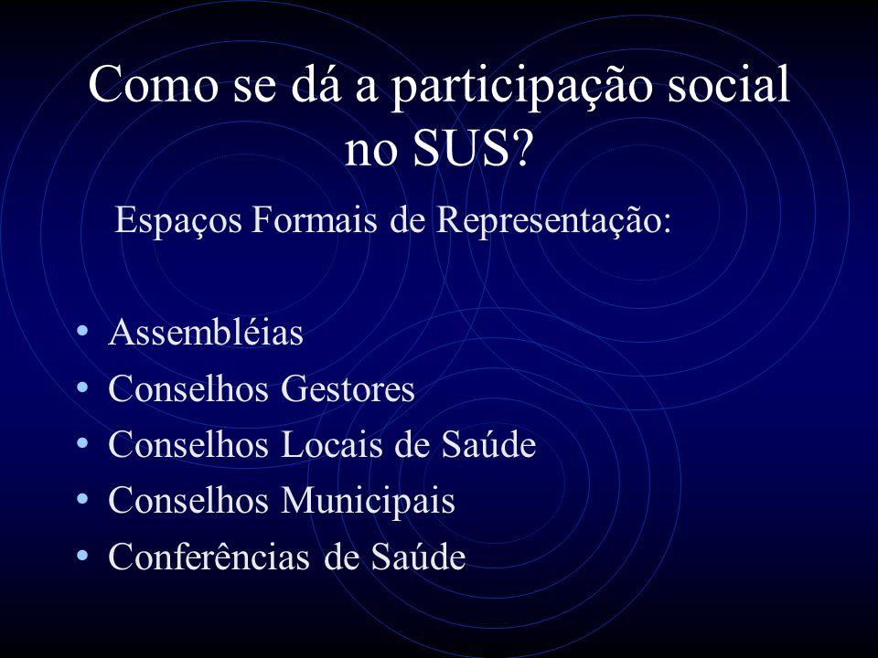 Como se dá a participação social no SUS? Espaços Formais de Representação: Assembléias Conselhos Gestores Conselhos Locais de Saúde Conselhos Municipa