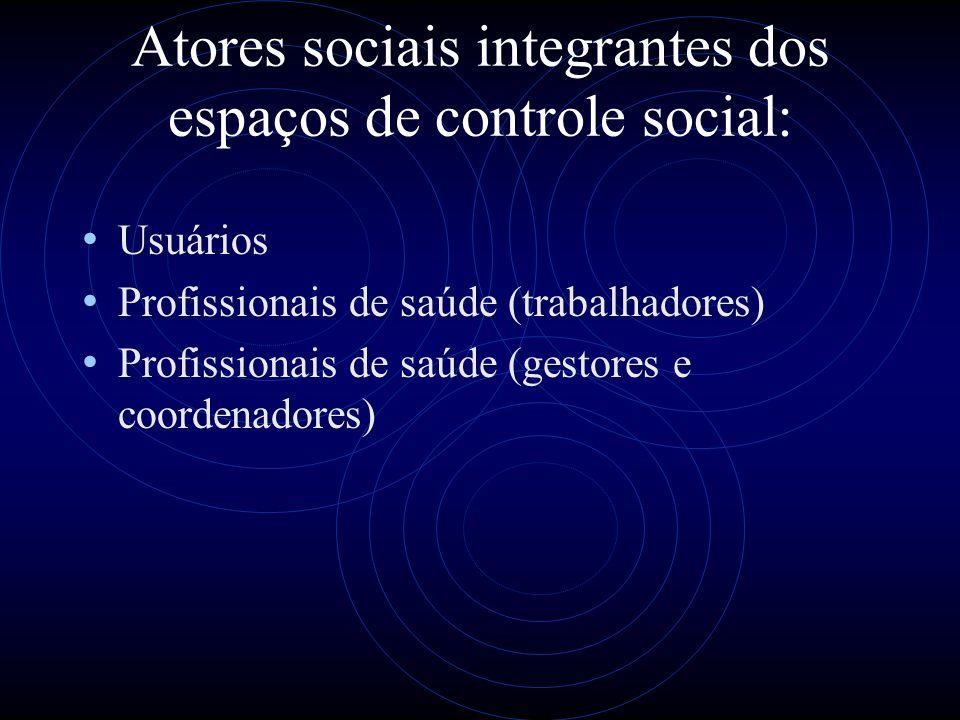 Atores sociais integrantes dos espaços de controle social: Usuários Profissionais de saúde (trabalhadores) Profissionais de saúde (gestores e coordena