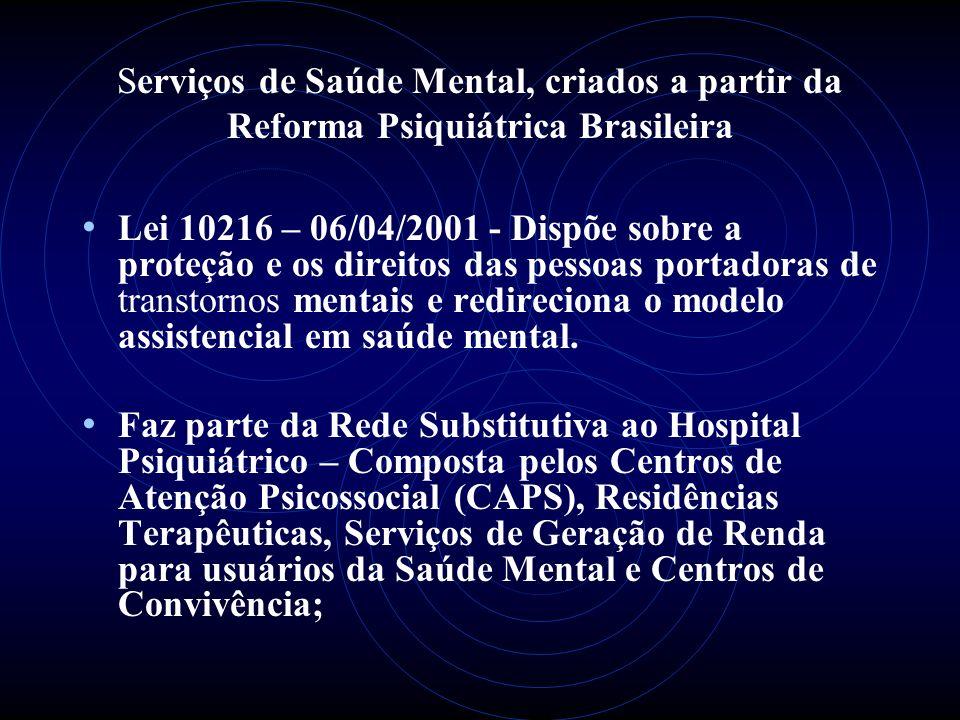 Serviços de Saúde Mental, criados a partir da Reforma Psiquiátrica Brasileira Lei 10216 – 06/04/2001 - Dispõe sobre a proteção e os direitos das pesso