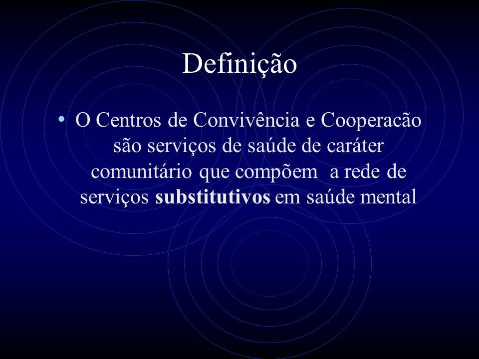 Definição O Centros de Convivência e Cooperacão são serviços de saúde de caráter comunitário que compõem a rede de serviços substitutivos em saúde men