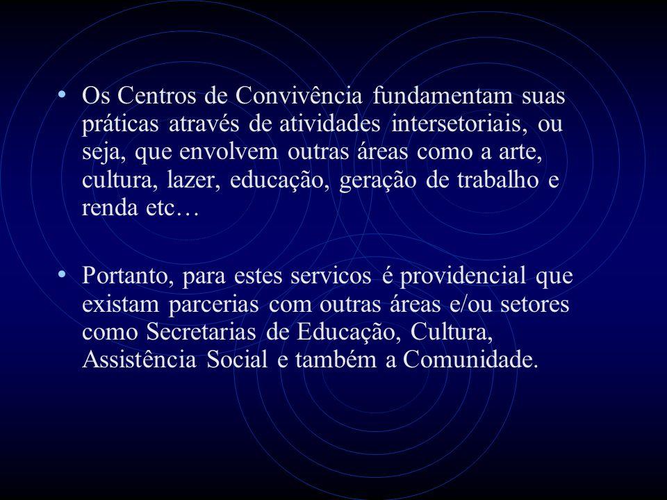 Os Centros de Convivência fundamentam suas práticas através de atividades intersetoriais, ou seja, que envolvem outras áreas como a arte, cultura, laz