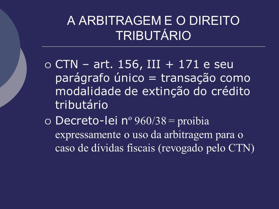 A ARBITRAGEM E O DIREITO TRIBUTÁRIO CTN – art. 156, III + 171 e seu parágrafo único = transação como modalidade de extinção do crédito tributário Decr