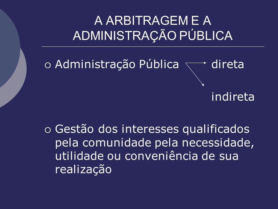 A ARBITRAGEM E A ADMINISTRAÇÃO PÚBLICA Administração Públicadireta indireta Gestão dos interesses qualificados pela comunidade pela necessidade, utili