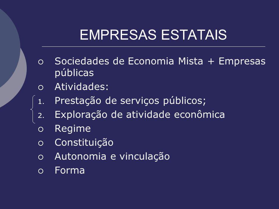 EMPRESAS ESTATAIS Sociedades de Economia Mista + Empresas públicas Atividades: 1. Prestação de serviços públicos; 2. Exploração de atividade econômica