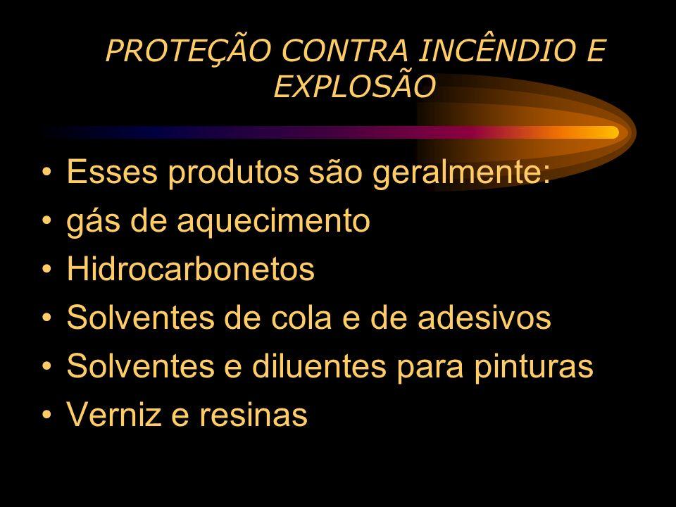 PROTEÇÃO CONTRA INCÊNDIO E EXPLOSÃO Esses produtos são geralmente: gás de aquecimento Hidrocarbonetos Solventes de cola e de adesivos Solventes e dilu