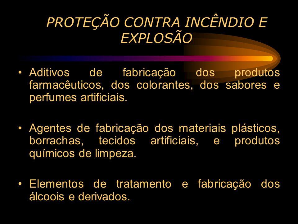 PROTEÇÃO CONTRA INCÊNDIO E EXPLOSÃO Aditivos de fabricação dos produtos farmacêuticos, dos colorantes, dos sabores e perfumes artificiais. Agentes de