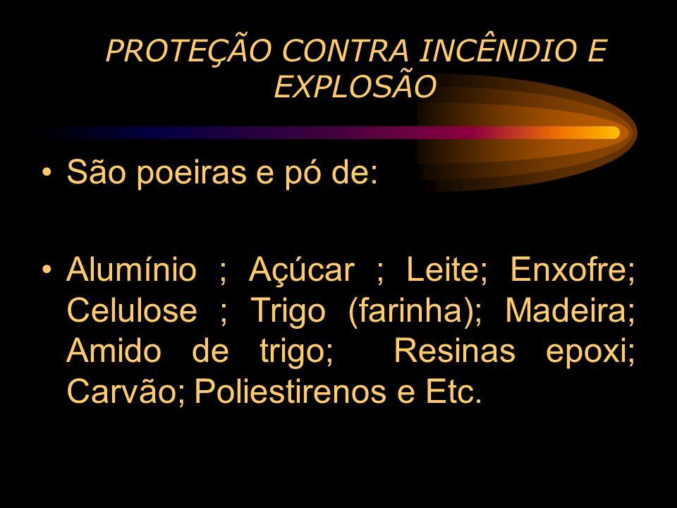PROTEÇÃO CONTRA INCÊNDIO E EXPLOSÃO São poeiras e pó de: Alumínio ; Açúcar ; Leite; Enxofre; Celulose ; Trigo (farinha); Madeira; Amido de trigo; Resi